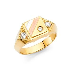 Jewelry - 14k yellow Gold Signet CZ Ring 4 5 6 7 8 9 10